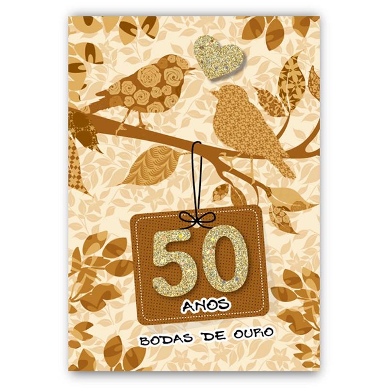 Cart o artesanal 50 anos ouro casamento bodas linha - Regalos 50 anos de casados ...