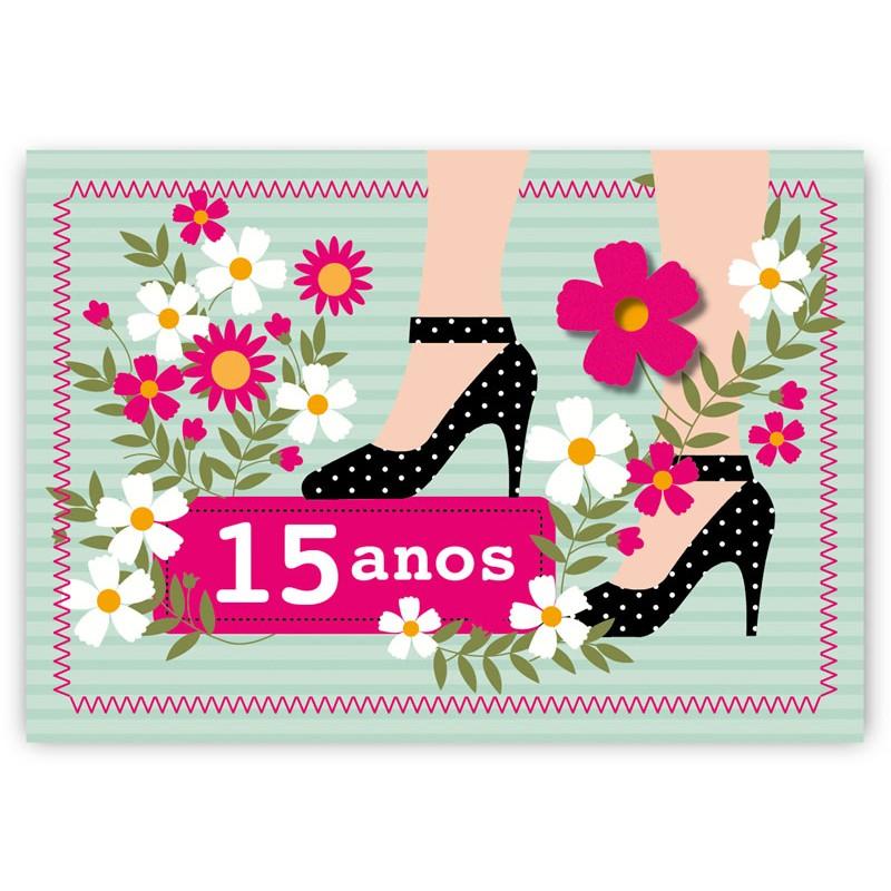 Preferência Cartão Mix 15 anos Sapatos - Aniversário/15 Anos - Linha Mix - Cartões WV04