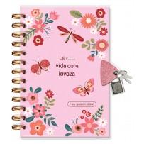 Diário com chave Borboletas rosa