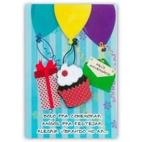 Cartão Artesanal Cupcake com balões