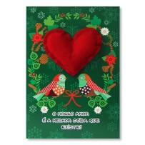 Cartão Artesanal Natal Pássaros