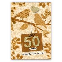 Cartão Artesanal 50 anos ouro