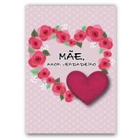 Cartão Artesanal Mãe Amor Verdadeiro