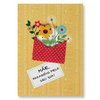 Cartão Artesanal Mãe Envelope Flores