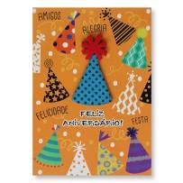 Cartão Artesanal Chapéus Aniversário