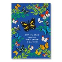 Cartão Artesanal Borboletas no jardim