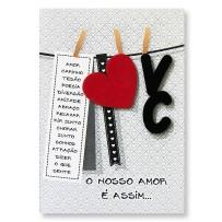 Cartão Artesanal Varal corações