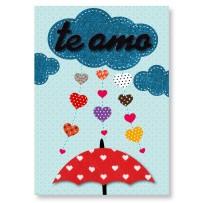 Cartão Artesanal Te Amo nuvem