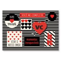 Cartão Mix Romântico preto e branco
