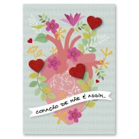 Cartão Artesanal Mãe Coração flores