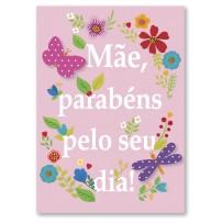 Cartão Artesanal Mãe Frase floral