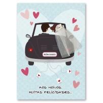 Cartão Artesanal Casamento Carro Noivos