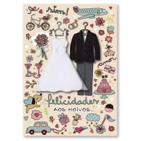 Cartão Artesanal Casamento Roupas