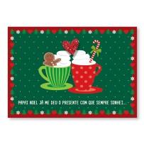 Cartão Mix Natal  Xícaras amor