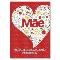 Cartão Artesanal  Mãe Coração flores coloridas