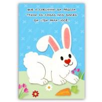 Cartão Artesanal Páscoa Coelho branco grande
