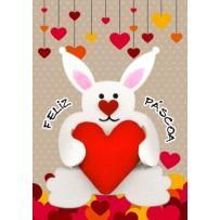 Cartão Artesanal Páscoa Coelho com coração fofo