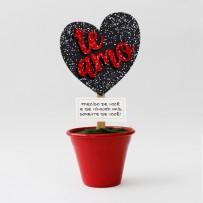 Mini Vaso Coração Te Amo gliter