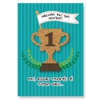 Cartão Artesanal Pai Troféu melhor